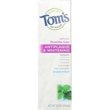 Tom de Maine antiplaca y blanquea la pasta dental con fluoruro libres, menta, 5,5 onza, paquete de 2