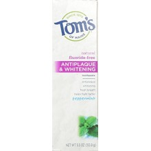 Tom's of Maine Antiplaque and Whitening Fluoride-Free Toothpaste, Peppermint, 5.5 Ounce, Pack of 2