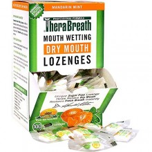 TheraBreath Dentist Recommended Dry Mouth Lozenges, Sugar Free, Mandarin Mint Flavor, 100 Count