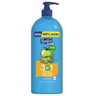 Niños Suave 3 en 1 Champú Acondicionador Body Wash, Bomba, Apple (40 Oz)