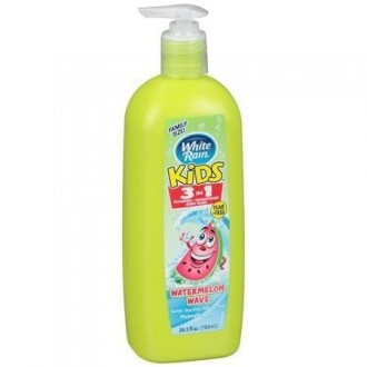 White Rain Kids 3-in-1 Shampoo, Conditioner, and Body Wash Zany Watermelon 26.5 Ounce Pump Bottle