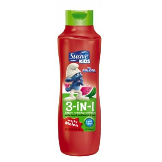 Suave Kids 3 In1 Shampoo, Conditioner & Body Wash, Wacky Melon, 22.5Ounce Bottle (Pack of 6)