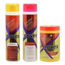 "Embelleze Novex Brazilian Keratin Shampoo & Conditioner 10.14oz & Deep Hair Cream Treatment 14.1oz ""Set"""