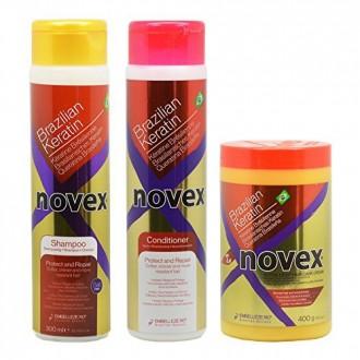 """Embelleze Novex queratina brasileña champú y acondicionador 10,14 oz y profunda del cabello tratamiento Crema 14,1 oz """"Set"""""""