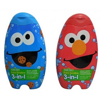 Sesame Street Elmo and Cookie Monster Extra Sensitive 3-in-1 Body Wash, Shampoo and Conditioner
