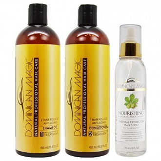 "Dominican Magic Hair Follicle Anti-Aging Shampoo & Conditioner 16oz & thermal Protector Spray 6oz ""Set"""