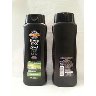 Power Stick 3 in 1 for Men Shampoo Conditioner Body Wash Spring Fresh 18 oz. 50% Bonus More (2 Pack)
