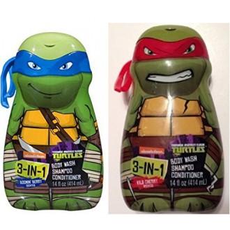 Las Tortugas Ninja 3 en 1 Gel de baño, champú, acondicionador (2-14oz) Leonardo Rafael Tmnt