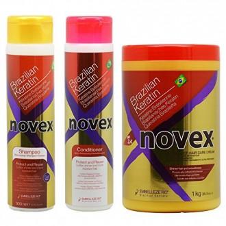 """Embelleze Novex queratina brasileña champú y acondicionador 10,14 oz y profunda del cabello tratamiento Crema 35,3 oz """"Set"""""""