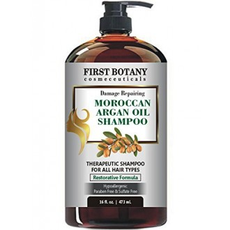 Moroccan Argan Oil Shampoo with Restorative Formula 16 fl. oz. Gentle & Sulfate Free for All Hair Types. Cleanses, Revives,