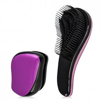 TRIMESTRE Desenredar Cepillo Profesional de Estilo de pelo del cepillo mini bolsillo húmedo y en seco Detangler peine para anuda